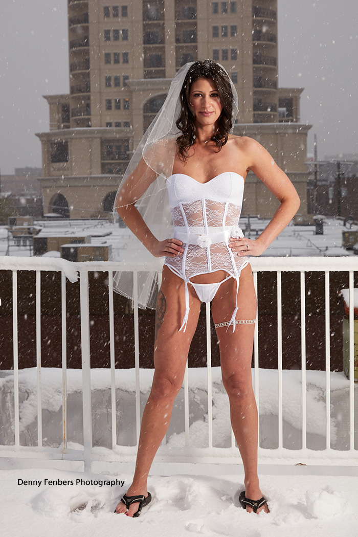 Bridal Boudoir in the Snow with Flip-Flops