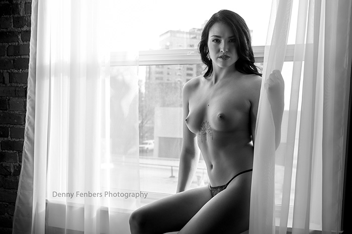 Black and white window topless boudoir